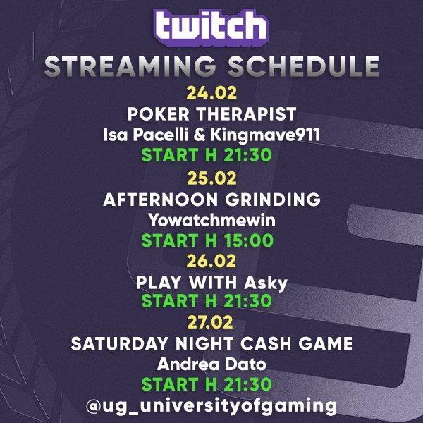 UG Twitch Schedule